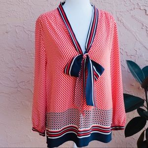 Juicy Couture Silk Bow Patterned Blouse